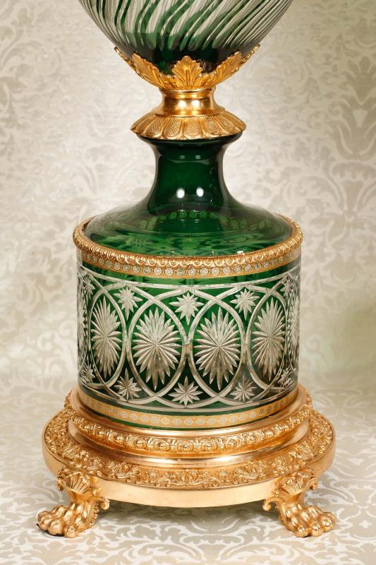 Photo of Pair Architectural Cut Glass Empire Vases Urns Ormolu XL