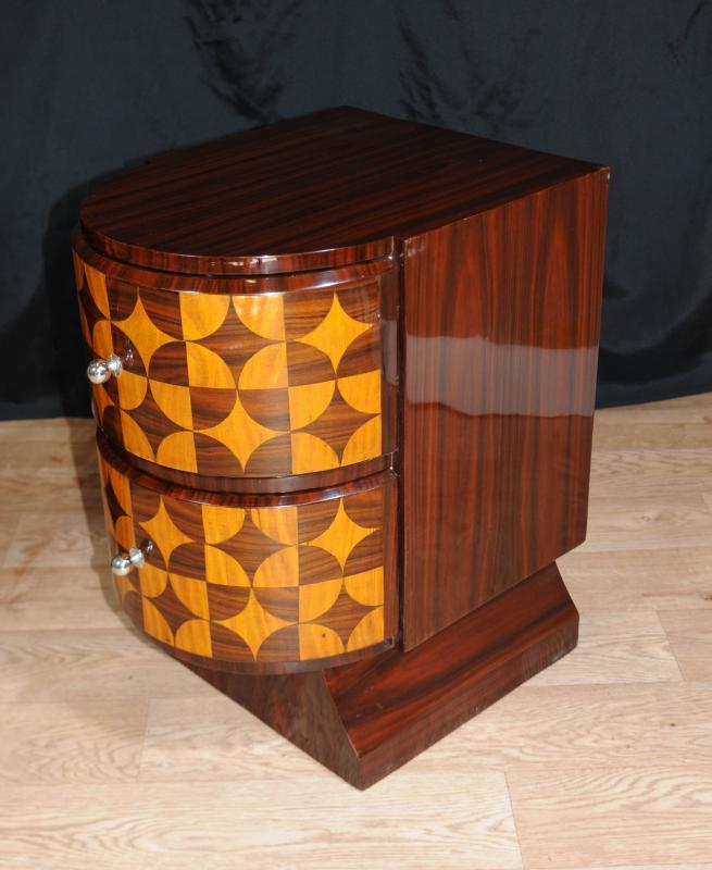 Pair Art Deco Inlay Nightstands Bedside Chests Drawers
