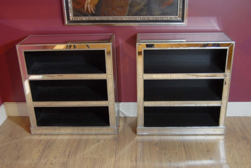 Photo of Pair Art Deco Mirrored Bookcases Book Case Mirror