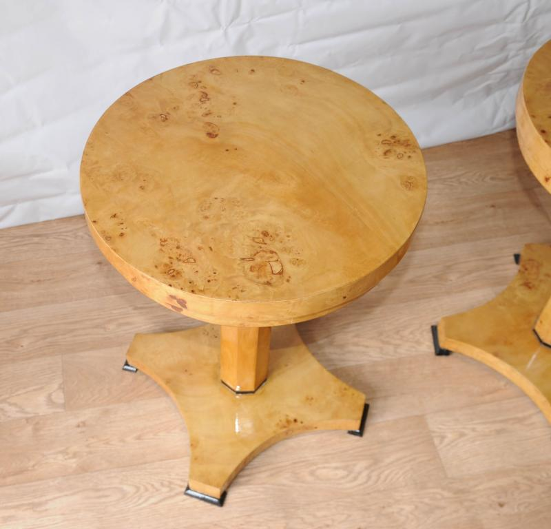 Photo of Pair Art Deco Side Tables Biedermeier Cocktail Table