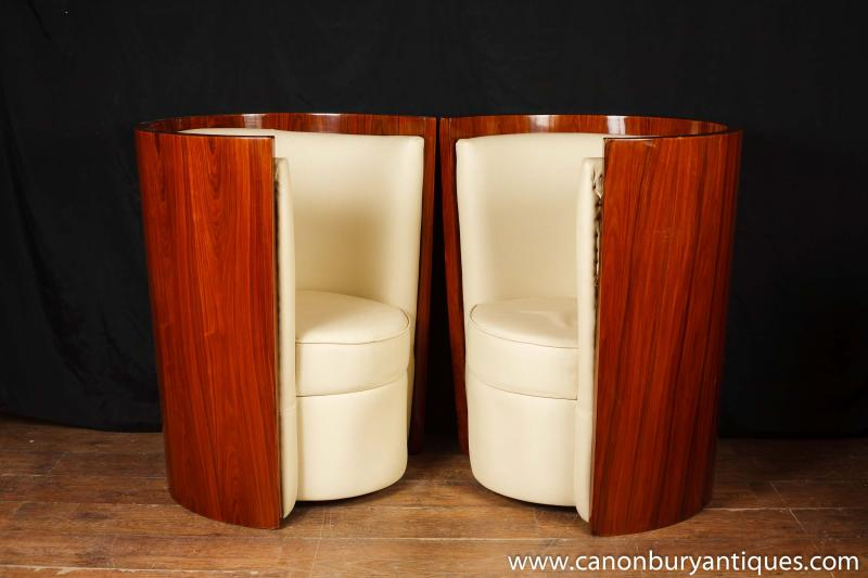 Photo of Pair Art Deco Tub Club Chairs Arm Chairs Armchair Lounge Interiors