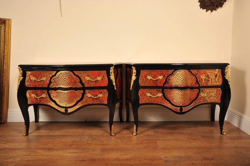 Photo of Pair Boulle Inlay Commodes Chest Drawers Louis XV
