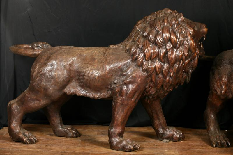 Photo of Pair Bronze Lifesize Lion Statues Gatekeeper Lions Cat