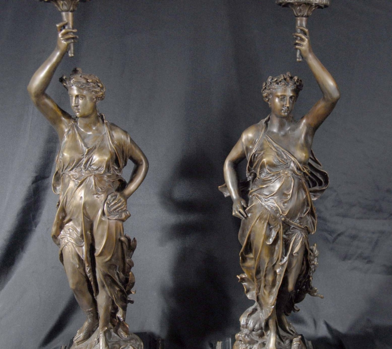Photo of Pair Bronze Lights Signed Gregoire Statue Liberty Torcheres Lamp