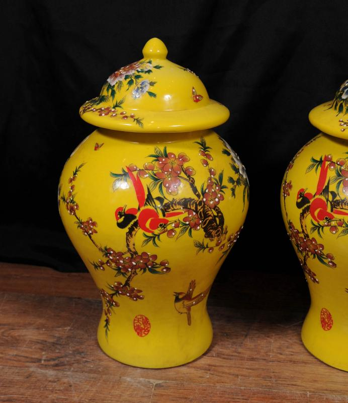 Photo of Pair Chinese Ming Porcelain Floral Ginger Jars Vases Urns Pottery