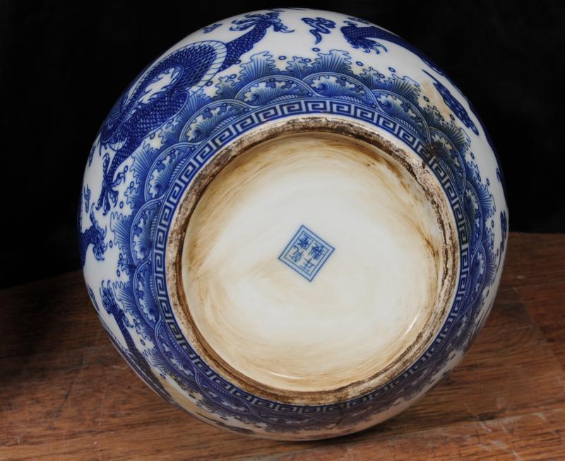 Photo of Pair Chinese Porcelain Nanking Urns Vases Blue White Pottery