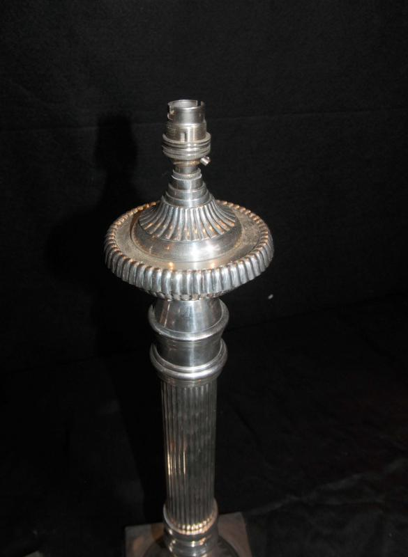 Photo of Pair Classic Regency Table Lamps Silver Plate Lights