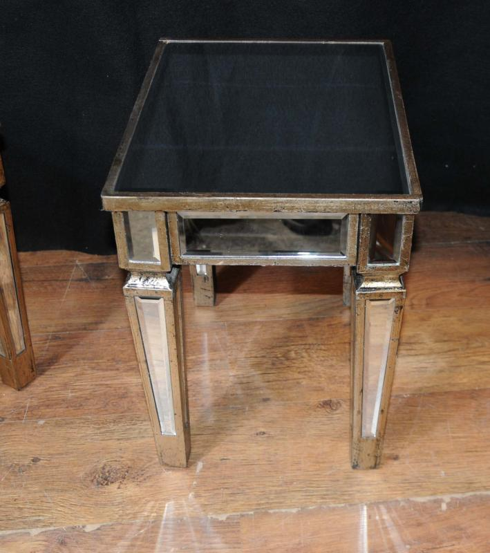 Photo of Pair Deco Mirrored Cocktail Side Tables Mirror Table Furniture