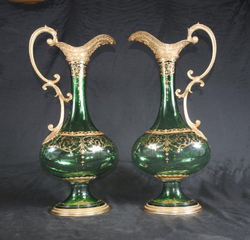 Photo of Pair Empire Glass Jugs Ewers Vases