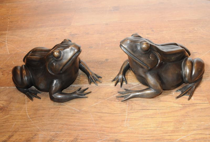 Photo of Pair English Bronze Frogs Toads Statue Casting