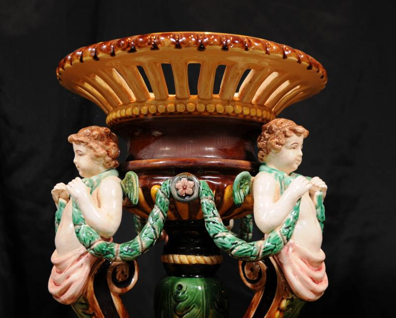 Photo of Pair English Majolica Pottery Porcelain Cherub Vase Stands Comports Urns
