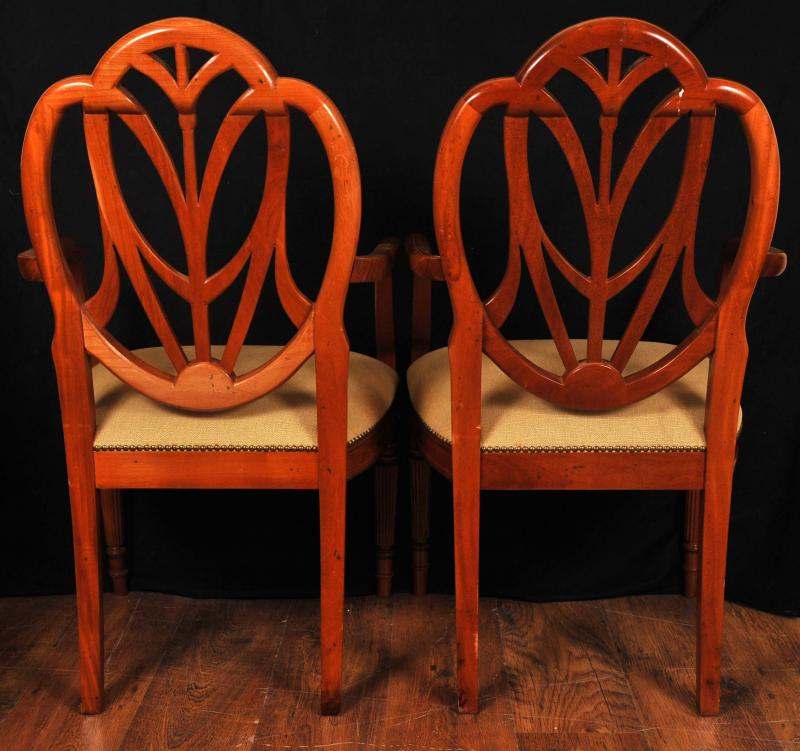 Photo of Pair English Painted Hepplewhite Arm Chairs Armchair Chair