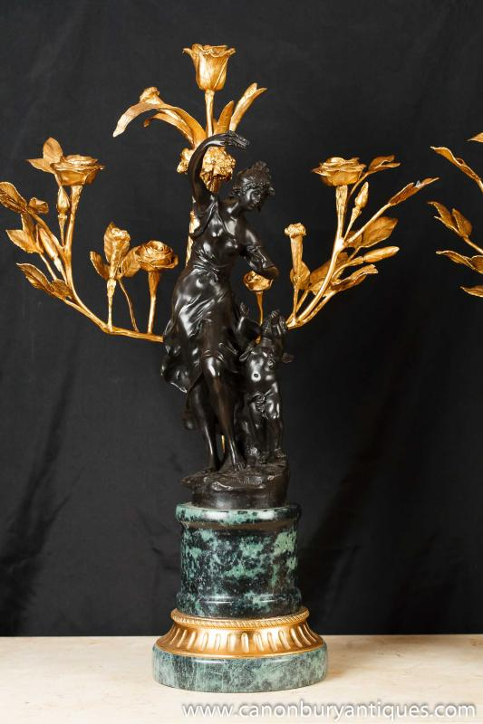 Photo of Pair French Bronze Cherub Candelabras Signed Moreau
