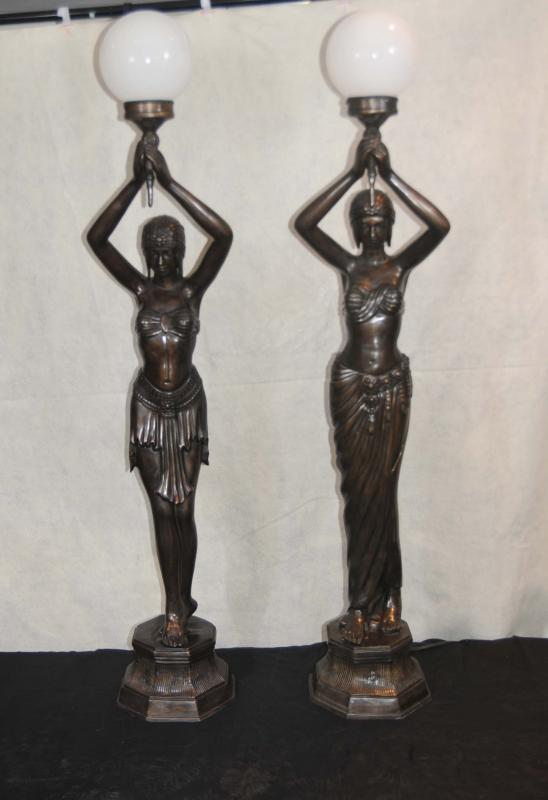 Photo of Pair French Bronze Female Figurine Lamps Torcheres Semi Nude