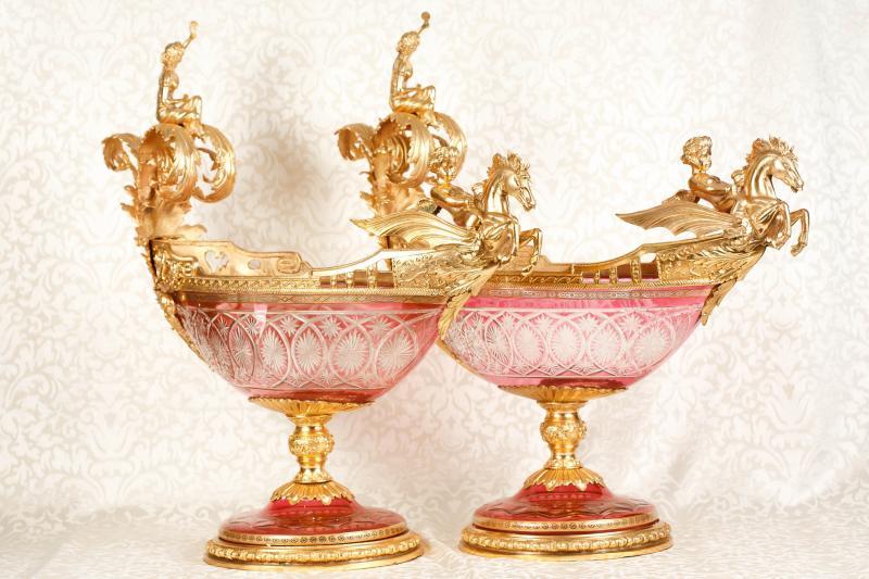 Photo of Pair French Empire Cut Glass Urns Cherub Boat Tureen