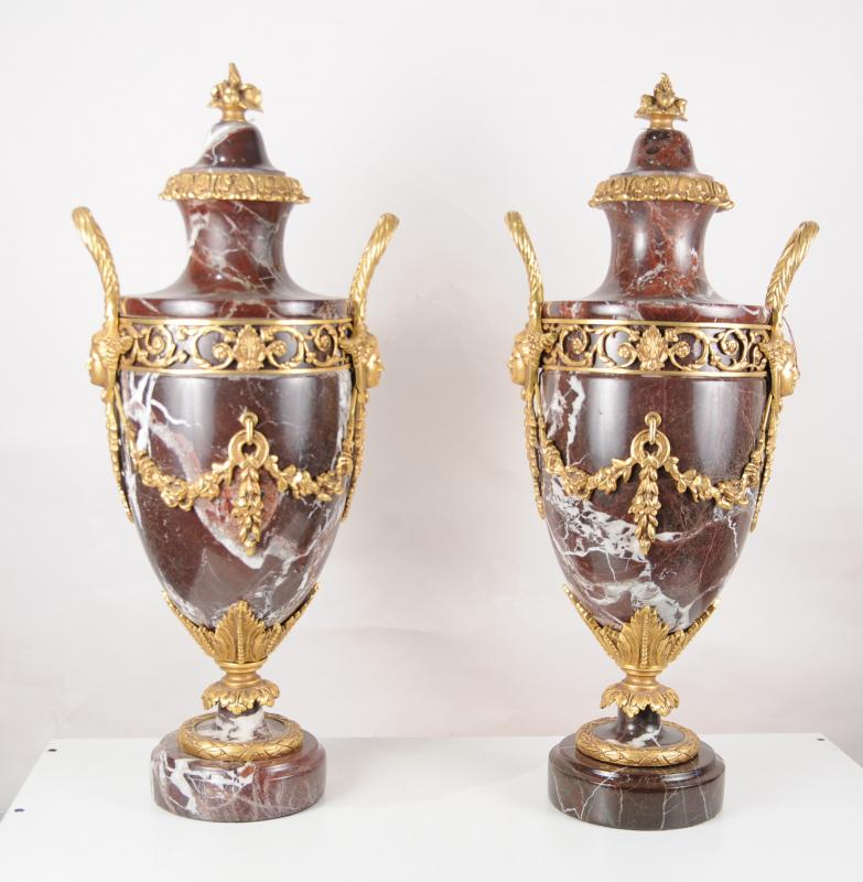 Photo of Pair French Empire Marble Amphora Urns Vases Ormolu
