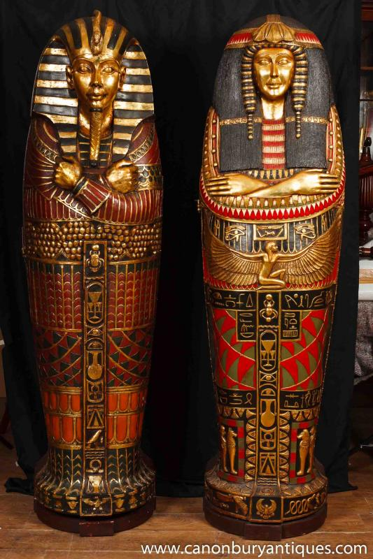 Pair French Empire Mummy Cabinets Egyptian Egypt Mummies Pharo