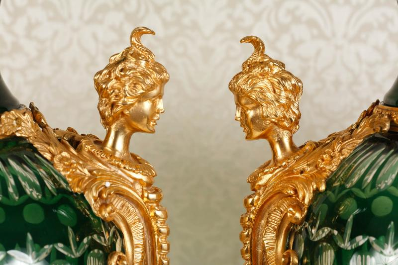 Photo of Pair French Louis XV Cut Glass Satyr Vases Urns XL