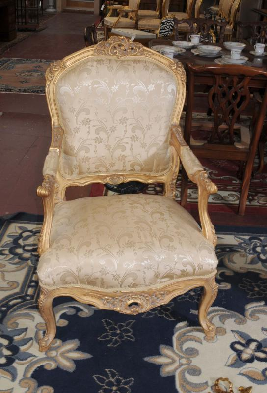 Photo of Pair French Louis XV Gilt Armchairs Fauteils Arm Chair