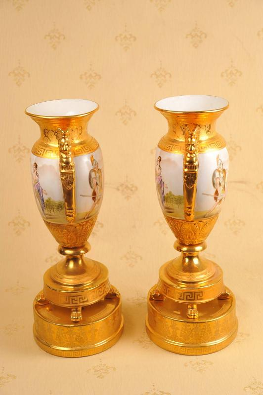 Photo of Pair French Paris Porcelain Classic Urns Stands Vase