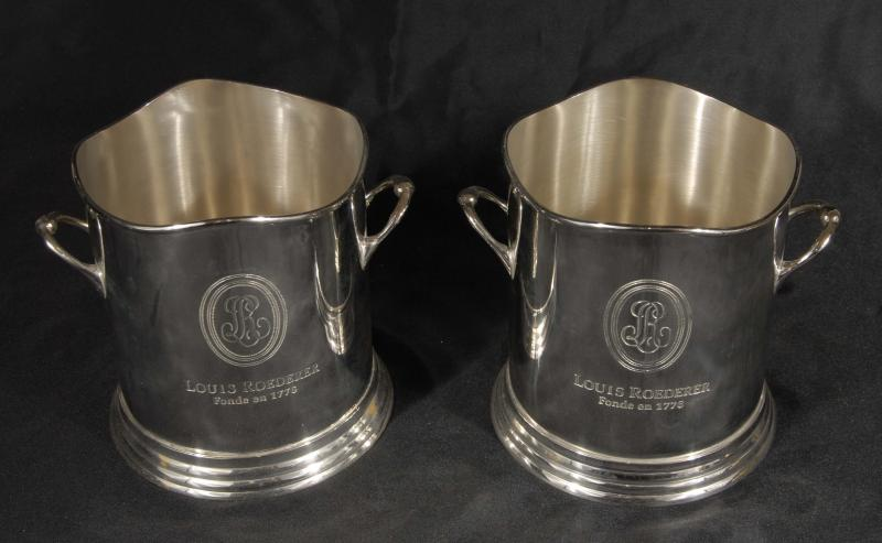 Photo of Pair French Silver Plate Roederrer Champange Wine Cooler Buckets