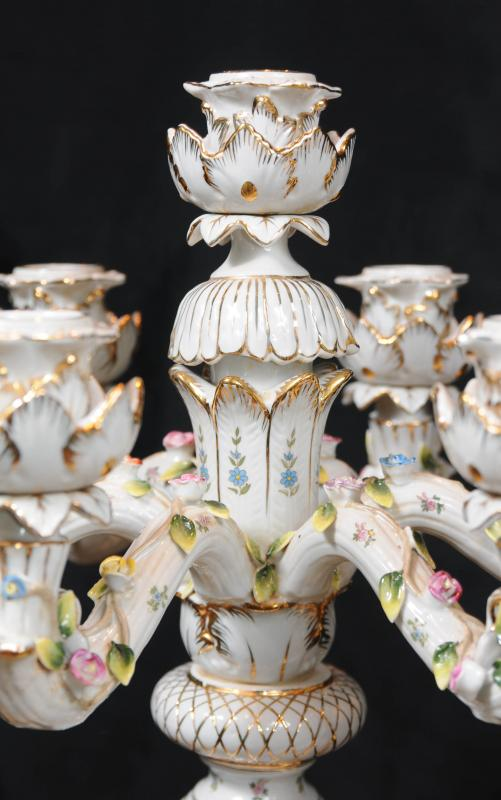 Photo of Pair German Dresden Porcelain Candelabras Candles Ceramic Painted