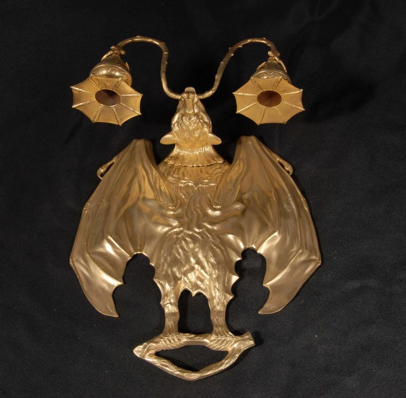 Gothic Wall Sconces: Pair Gothic Bat Ormolu Sconces Wall Lights Appliques