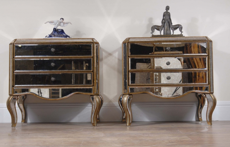 Photo of Pair Italian Mirrored Art Deco Bedside Tables