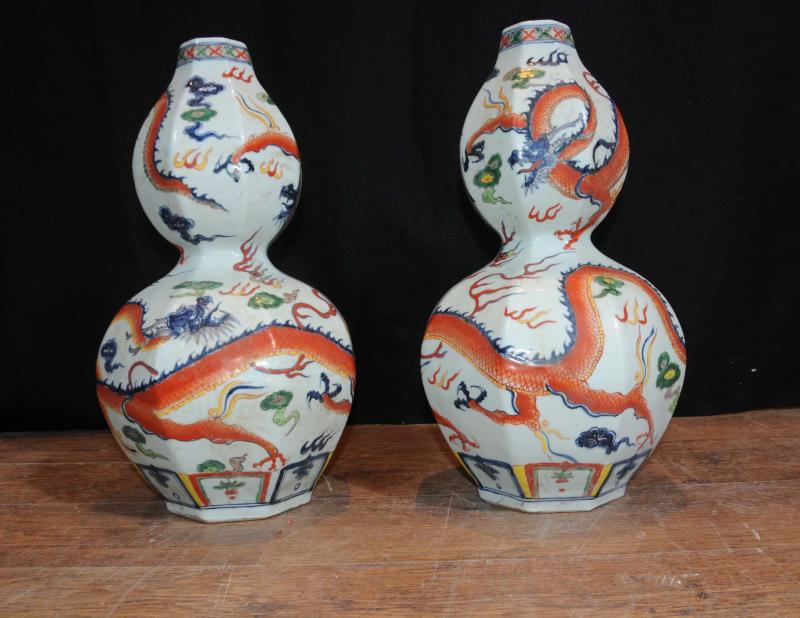 Photo of Pair Japanese Arita Porcelain Vases Hand Painted Pottery