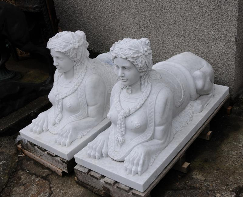 Photo of Pair Large Marble Egyptian Sphinxes Sphinx Egypt Empire Art Architectural