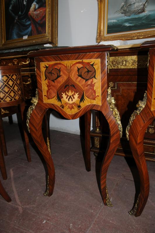 Photo of Pair Louis XV Side Tables Triangular Marquetry Inlay Cocktail Table