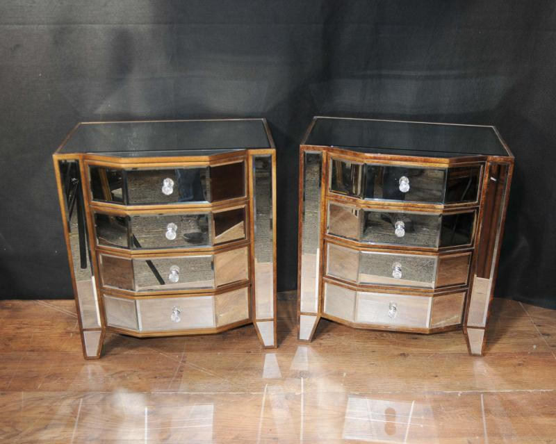 Pair mirrored deco bedside chests nightstands mirror furniture tables ebay - Elegant types of nightstands ...