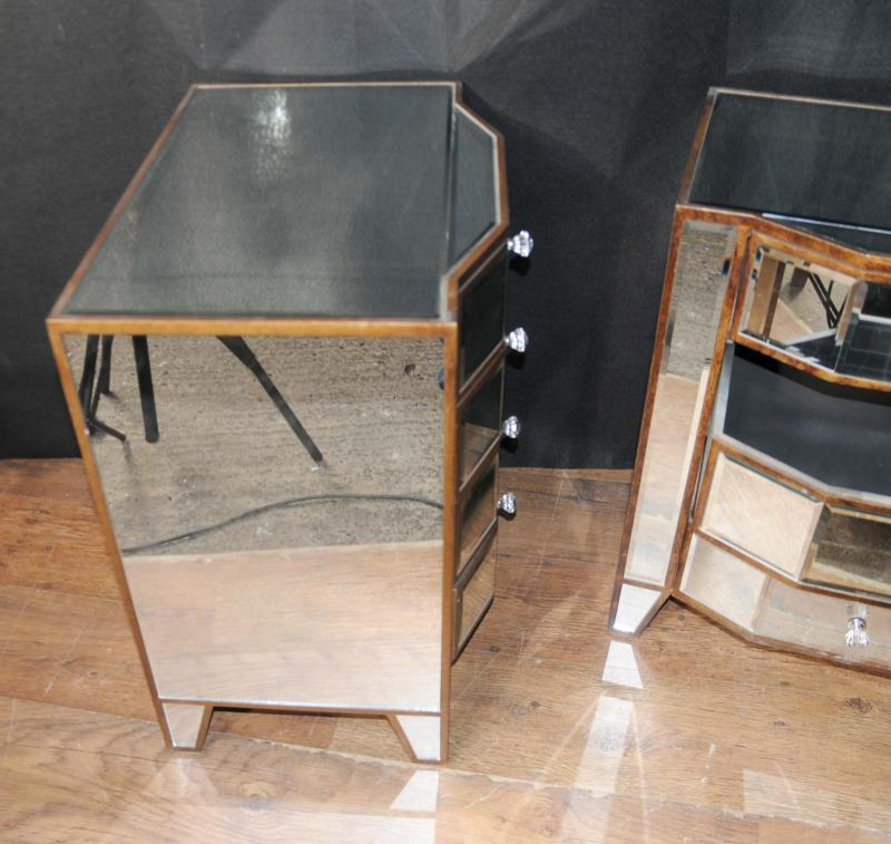 Photo of Pair Mirrored Deco Bedside Chests Nightstands Mirror Furniture Tables