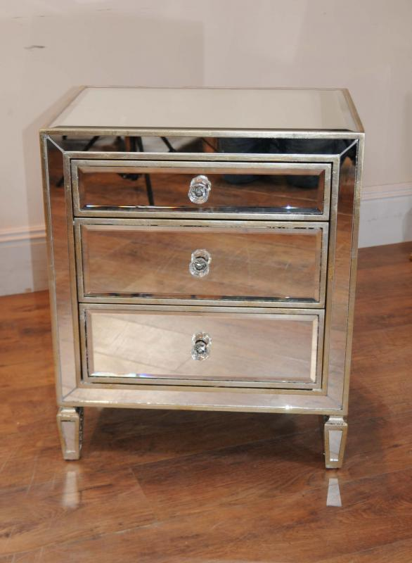 Pair Mirrored Nightstands Bedside Chests Tables Ebay
