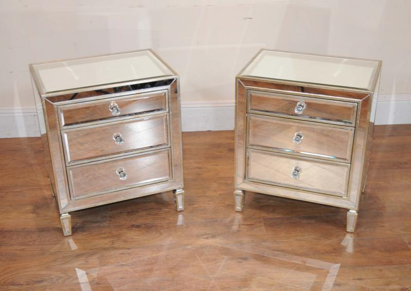 Pair mirrored nightstands bedside chests tables ebay for Mirror bedside cabinets