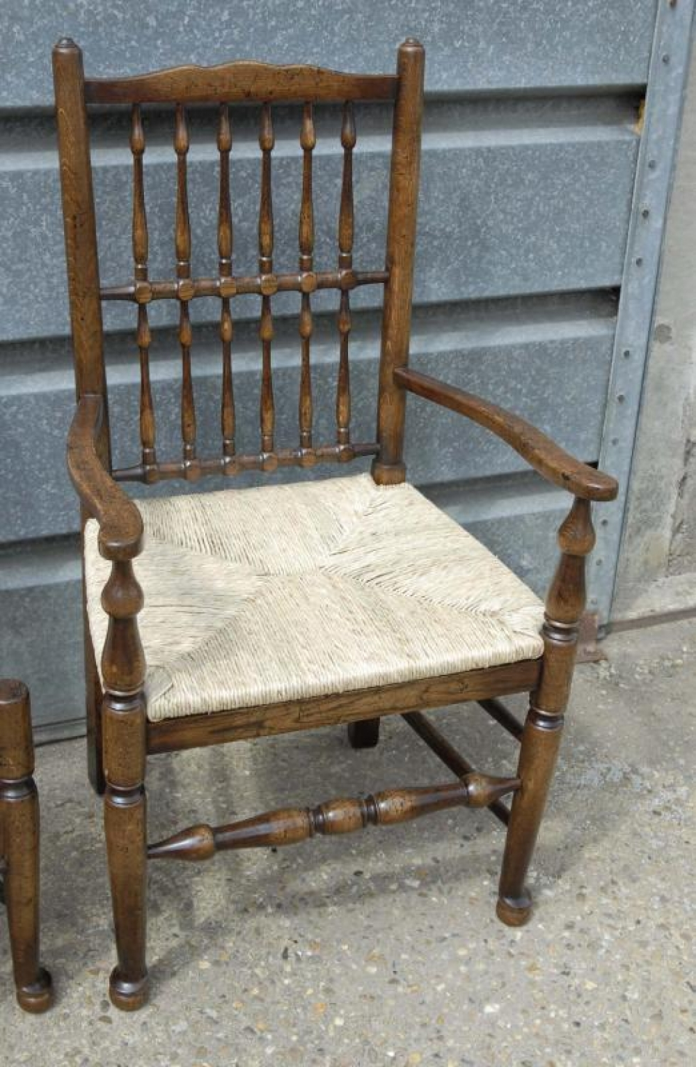 Photo of Pair Oak Spindleback Kitchen Chairs Country Farmhouse