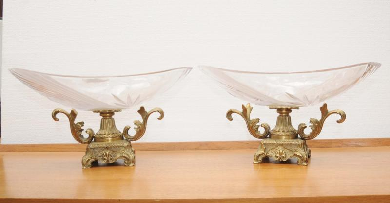 Photo of Pair Ormolu Glass Empire Dishes Bowls Comports French
