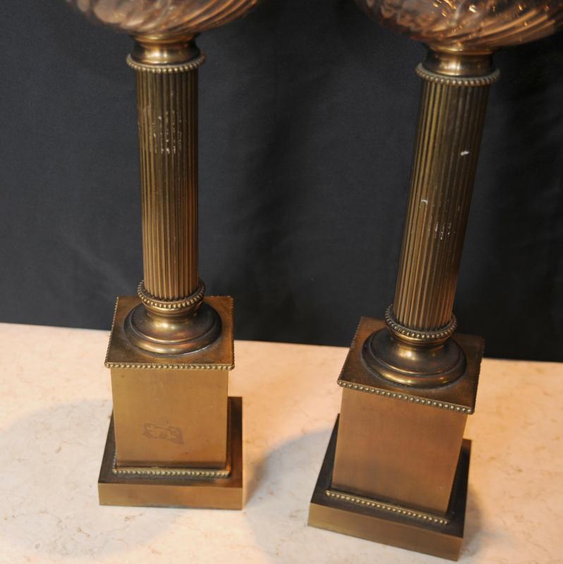 Photo of Pair Regency Brass Table Lamps Lights Column Cut Glass