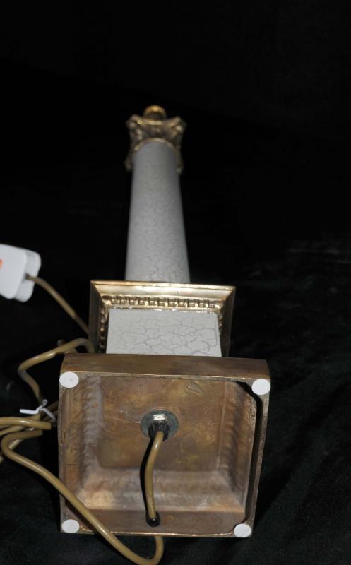Photo of Pair Regency Tables Lamps Lights Doric Column Classic Light