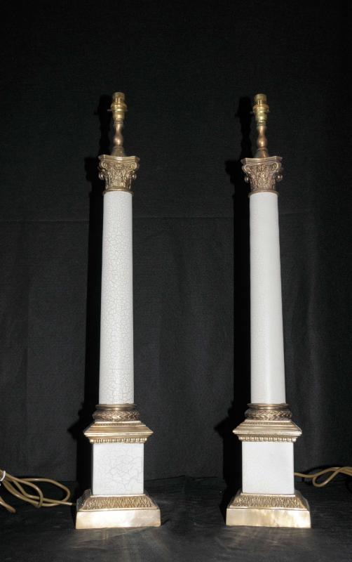 Photo of Pair Regency Tables Lamps Lights Doric Column Classic Light