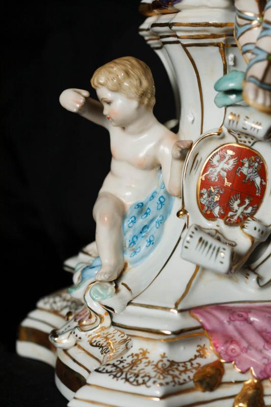 Photo of Pair Sevres Porcelain Candelabras French Cherub Maiden Candles