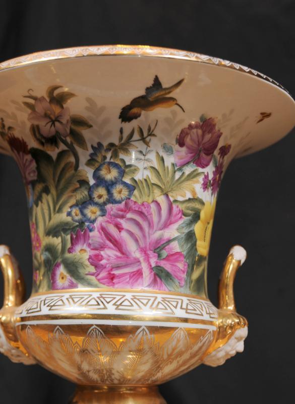 Photo of Pair Sevres Porcelain Floral Campana Urns Vases