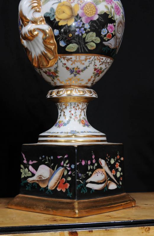 Photo of Pair Sevres Porcelain Vases Pedestal Base Urns French Ceramic