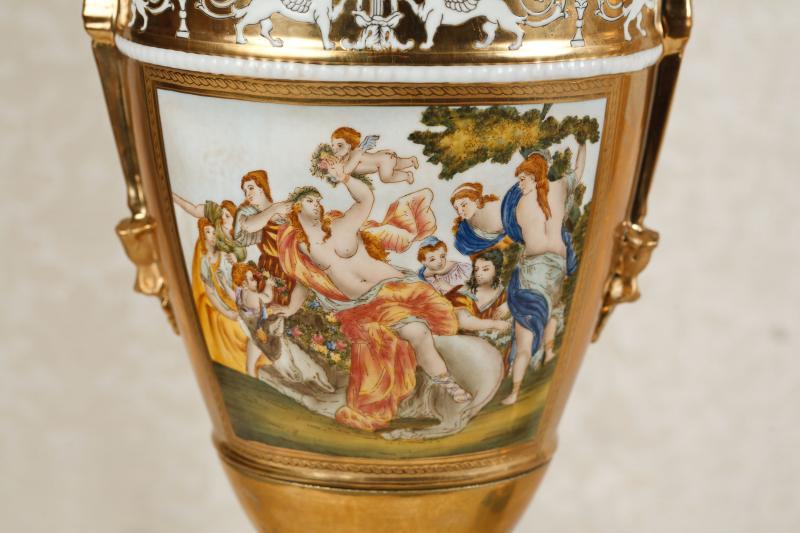 Photo of Pair Sevres Porcelain Vases Urns Bisque Griffins