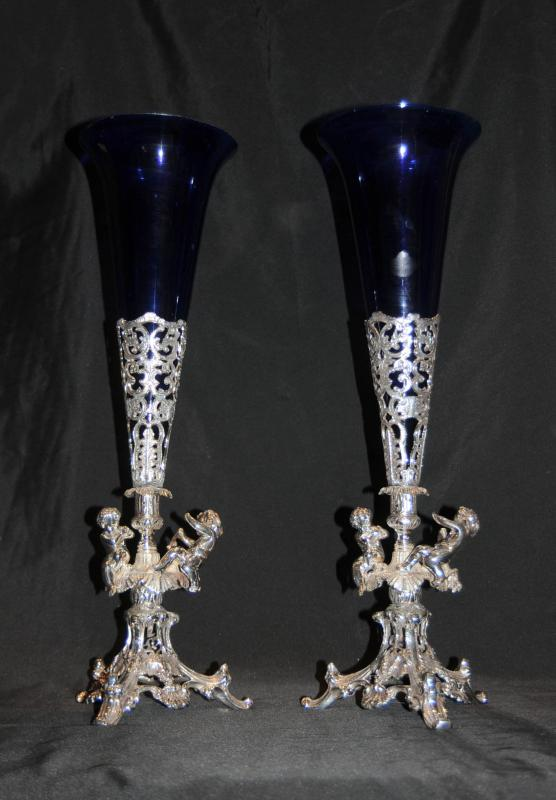 Photo of Pair Silver Plate Cherub Rose Vases English Silverplate