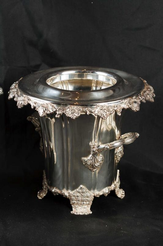 Photo of Pair Silver Plate George II Wine Coolers Champagne Buckets Urns