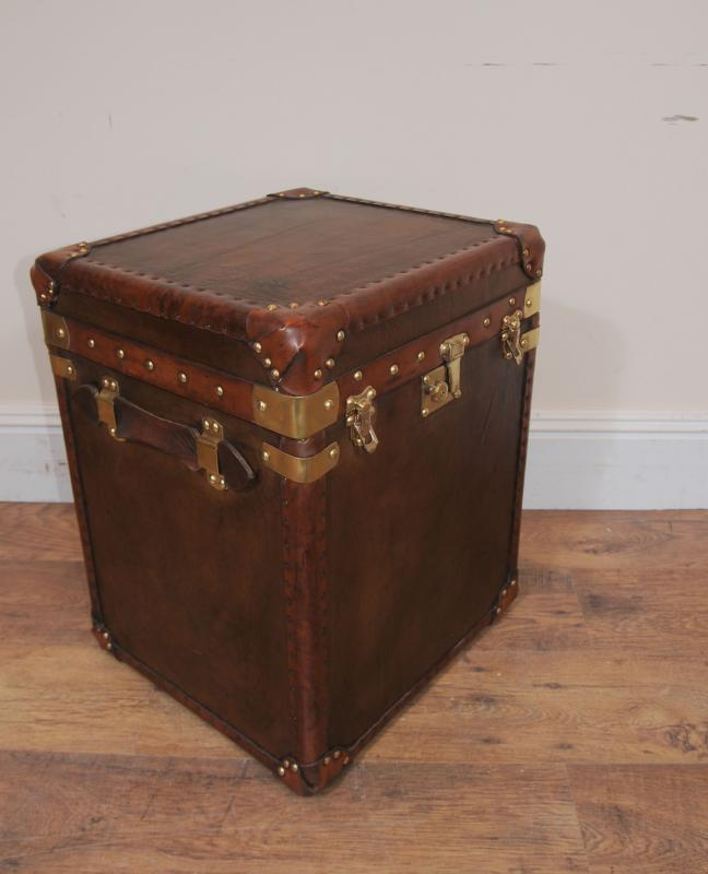 Pair Victorian Leather Trunk Travel Boxes Coffee Table