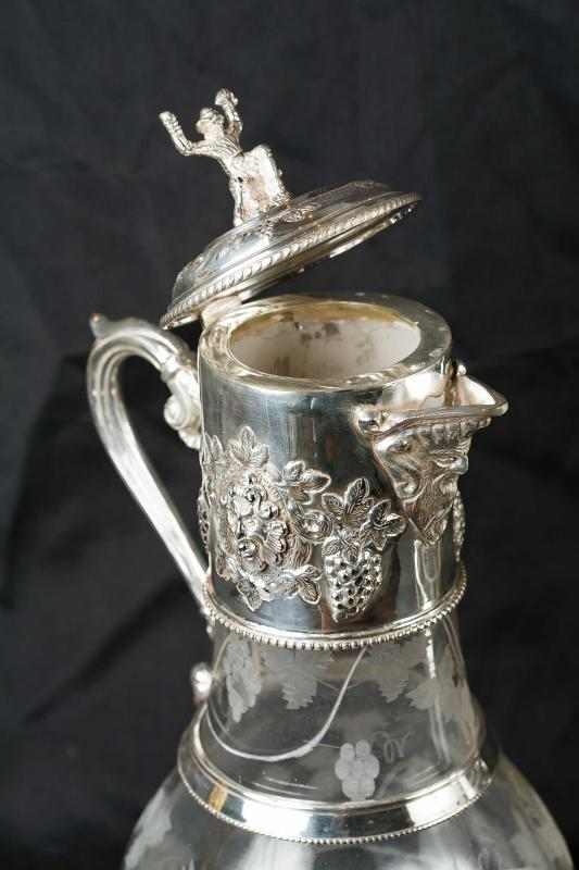 Photo of Pair Victorian Silver Plate Jugs Cut Glass Ewer Vase