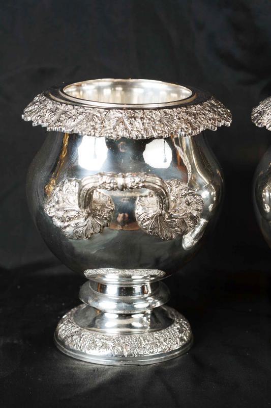 Photo of Pair Victorian Silver Plate Wine Coolers Champagne Buckets