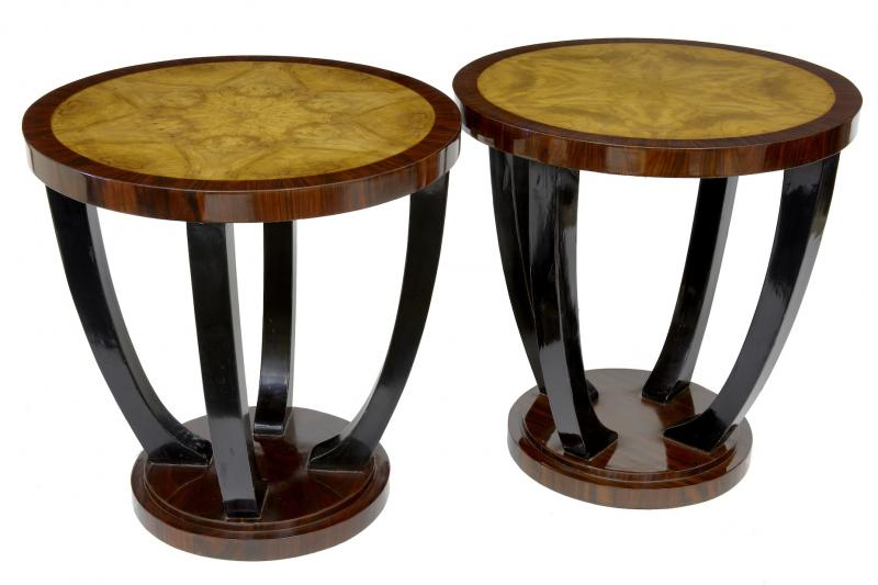 Photo of Pair Vintage Art Deco Sofa Tables Side Cocktail Table Furniture